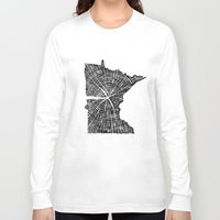 tree rings Long Sleeve T-shirts featuring Minnesota Tree Rings by Wolf's Head Craftworks