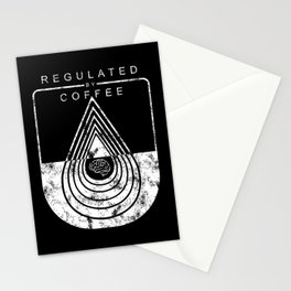 Caffeine on the Brain // B&W Regulated by Coffee Espresso Drip Distressed Living Graphic Design Stationery Cards