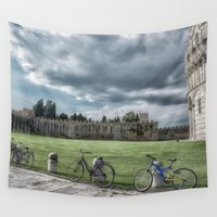bicycles Wall Tapestries featuring Bicycles in Pisa by Elliott's Location Photography