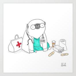 Doctor Pug Art Print