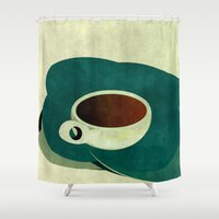 french Shower Curtains featuring French Roast Coffee by Red Coat Studio Design