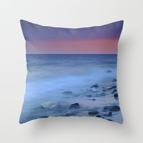 Blue stones at the sea Throw Pillow