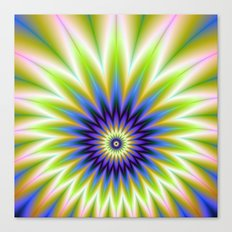 Green and Blue Floral Explosion Canvas Print