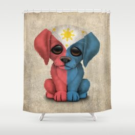 Cute Puppy Dog with flag of The Philippines Shower Curtain