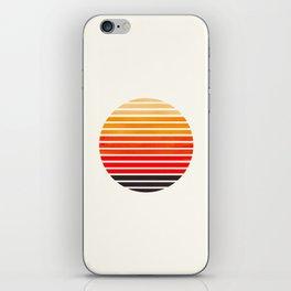 Orange Mid Century Modern Minimalist Scandinavian Colorful Stripes Round Circle Frame iPhone Skin