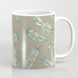 Linen grey flowery feathers Coffee Mug