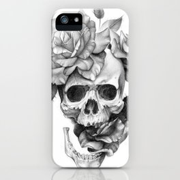 Black and white Skull and Roses iPhone Case