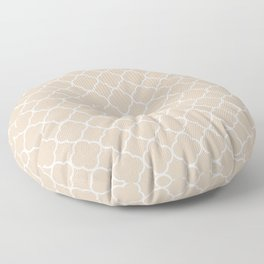 Clover Quatrefoil Pattern: Beige Floor Pillow