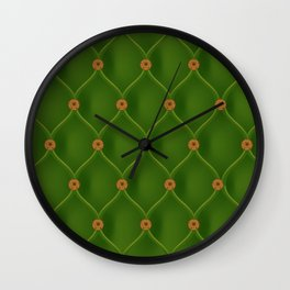 Studded green furniture leather Wall Clock