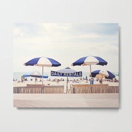 Beach Umbrella Photography, Blue White Brown Coastal Art, Beach Summer Photograph, Seashore Print Metal Print