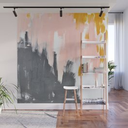 Gray and pink abstract Wall Mural