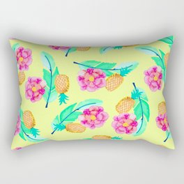Tropical Jungle Pineapple Palm Leaf and Flower Rectangular Pillow