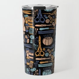Sewing Notions Block Print Travel Mug