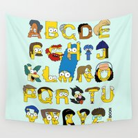 alphabet Wall Tapestries featuring Simpsons Alphabet by Mike Boon