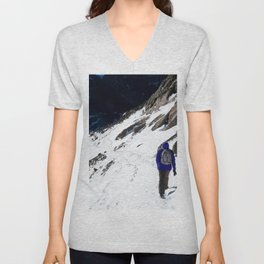 Watercolor People in Nature, IS, Adult 03, Chasm Lake Trail, RMNP, Colorado Unisex V-Neck