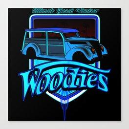 retro woodie car tee Canvas Print
