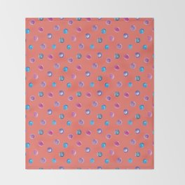 Living coral watercolor blue turquoise and violet polka dot pattern Throw Blanket