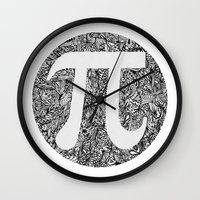 pi Wall Clocks featuring PI by Nora