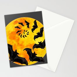 HALLOWEEN BAT INFESTED HAUNTED MOON ART DESIGN Stationery Cards
