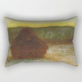 Claude Monet - Stack of Wheat (Thaw, Sunset).jpg Rectangular Pillow