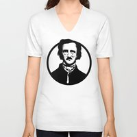 edgar allen poe V-neck T-shirts featuring Poe by Zombie Rust