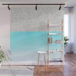 Painted Marble - Gray Aqua Silver Wall Mural