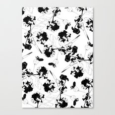 Hydranga pattern  - black and white Canvas Print