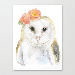 Barn Owl Floral Watercolor Canvas Print