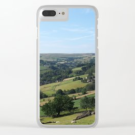panoramic view of the village of luddenden in west yorkshire surrounded by fields Clear iPhone Case