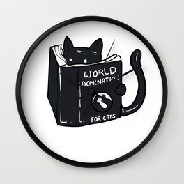 Funny World Domination Cat Person Gift Wall Clock