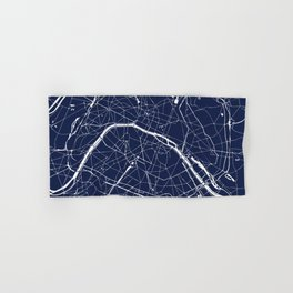 Paris France Minimal Street Map - Navy Blue and White Reverse Hand & Bath Towel