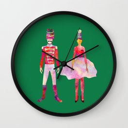 Nutcracker Ballet - Candy Cane Green Wall Clock
