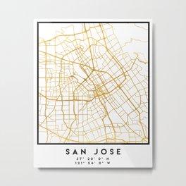 SAN JOSE CALIFORNIA CITY STREET MAP ART Metal Print