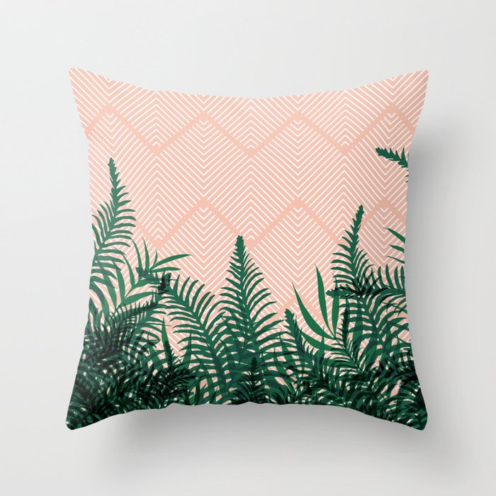 Tropical Ferns On Pink Throw Pillow By Designdn Society6