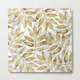 Modern gold autumn leaves design Metal Print
