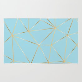 blue pastel and gold polygon Rug