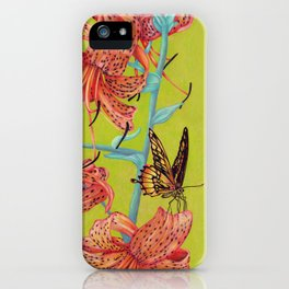 Tiger Lilies with Butterfly iPhone Case