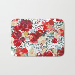 Red teal hand painted boho watercolor roses floral Bath Mat