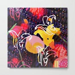 Pinkmoon Nocturnal Flower Constallation Metal Print