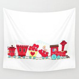 Vintage Valentine Day Card Inspired - Love, Romance, Romatic, Red, Hearts, Cherub, Angels Wall Tapestry