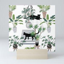 cats in the interior pattern Mini Art Print