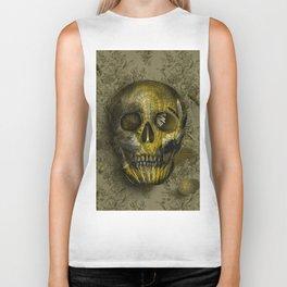 skull gold art decor Biker Tank