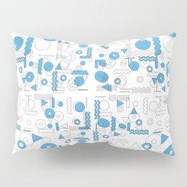 Blue White Geometric Shapes Pillow Sham