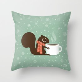 Cute Squirrel Coffee Lover Winter Holiday Throw Pillow
