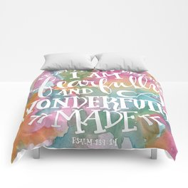Fearfully and Wonderfully Made - Watercolor Scripture by Misty Diller Comforters
