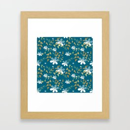 White flowers on a blue background . Framed Art Print