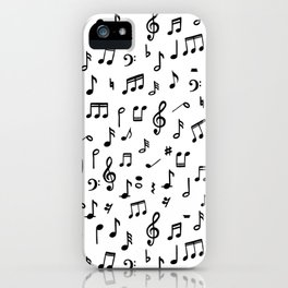 Music notes in black and white iPhone Case