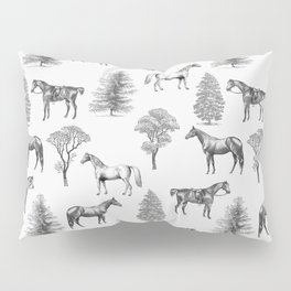 HORSES &TREES Black and white pattern  Pillow Sham