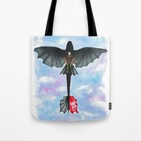 hiccup Tote Bags featuring Hiccup and Toothless Flying from How to Train your Dragon 2 by Brietron Art