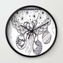 Christmas Zentangle Swag in Black and White for Adult Colorists Wall Clock